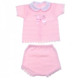 Baby Girls Pink Knitted Shorts Set With Pink Bow