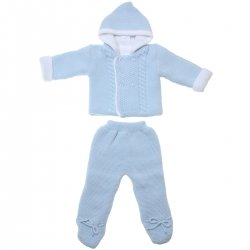 Thick And Warm Baby Blue Knitted Jacket Set