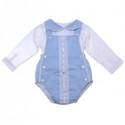 Baby Girls Blue White Bubble Romper Decorated By White Lace