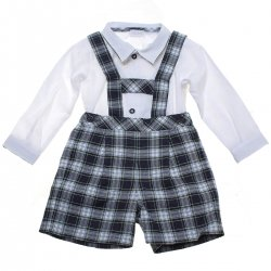 Sale Baby Boys White Shirt H Brace Blue Green Gingham Shorts Set