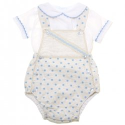 Baby Boys White Top Ivory Blue Polka Dots Romper Outfit