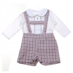 Made In Spain Baby Boys White Top H Braces Gingham Shorts Outfit