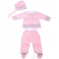 Baby Girls Pink Knitted Outfit With Bonnet Made in Spain
