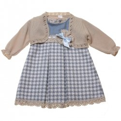 Sale Spanish Baby Girls Blue Checks Dress With Knitted Caramel Bolero