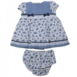 Sale Baby Girls Blue White Polka Dots Blue Floral Dress With Panty