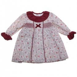 Sale Baby Girls Burgundy Floral Dress