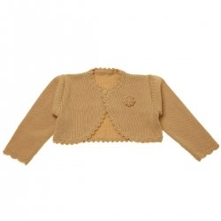 Baby Girls Caramel Colour Bolero With Flower