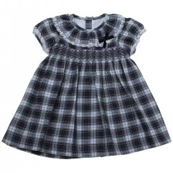 Sale Baby Girls Navy Green Gingham Smocked Dress