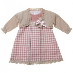 Sale Spanish Baby Girls Pink Checks Dress With Caramel Knitted Bolero