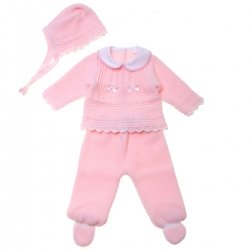 Baby Girls Pink Knitted Outfit With Bows Made in Spain