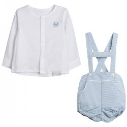 Made in Spain Baby Boys White Shirt Blue Braces Shorts Outfit
