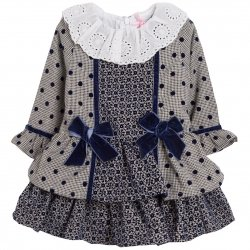 Spanish Baby Girls Navy Grey Dress White Collar Navy Bows