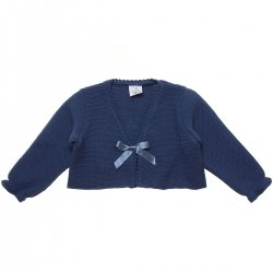 Baby Girls Azure Blue Bolero With Bow