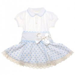 Sale Baby Girls Ivory Blouse Blue Polka Dots Skirt Outfit