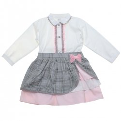 Spanish Girls Ivory Blouse Grey Pink Skirt Set