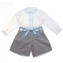 Spanish Made Girls Ivory Blouse Grey Checks Shorts Set