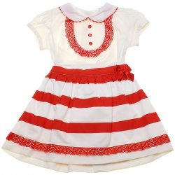 Spanish Baby And Toddler Girls Ivory Blouse Ivory Red Stripes Skirt Red Lace Set