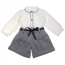 Spanish Made Girls Ivory Blouse Navy Gingham Shorts Set