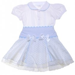 Sales Stunning Girls White Blouse Blue Polka Dots Skirt Set