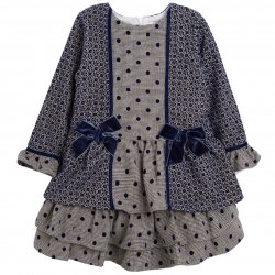 Spanish Girls Navy Grey Ruffle Dress Navy Bows