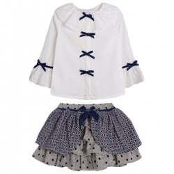 Spanish Girls White Blouse Navy Grey Skirt Navy Bows