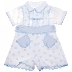 Spanish Babies White Blue Polka Dots Dungarees Outfit