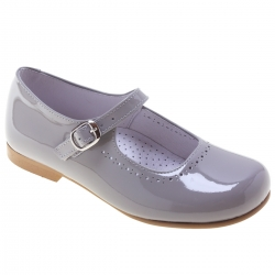 Ice Grey Or Light Grey Girls Leather Mary Jane Shoes