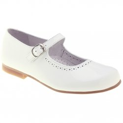Mary Jane Style Girls White Patent Shoes