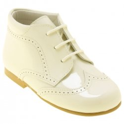Boys Ivory Patent Boots In Leather Made In Spain