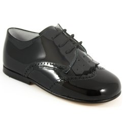 Boys Black Shoes Patent Leather Removable Flap Decoration