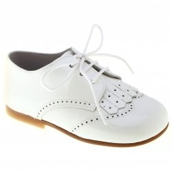 Boys White Formal Shoes Patent Leather Removable Flap Decoration