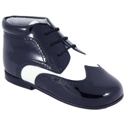 Boys Navy Boots Dark Navy Patent With White Stripes