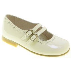 Double Straps Girls Ivory Patent Shoes Mary Jane Styled