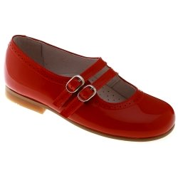 Girls Red Mary Jane Shoes Patent Leather Double Straps