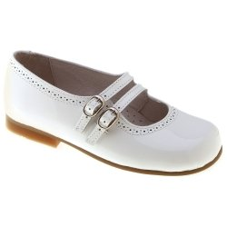 Girls White Mary Jane Patent Shoes Leather Double Straps