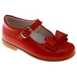 Mary Jane Style Girls Red Shoes Decorated With Leather Bow