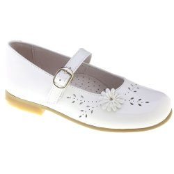 Girls White Patent Flower Leather Shoes