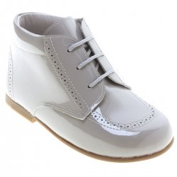 Boys Ice Grey Patent Leather Boots