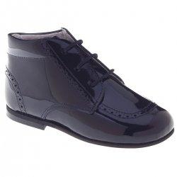 Boys Navy Boots In Patent Leather