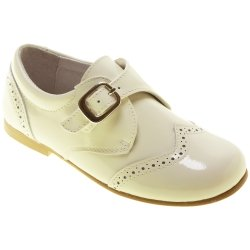 Boys Ivory Patent Shoes Buckle Fastening