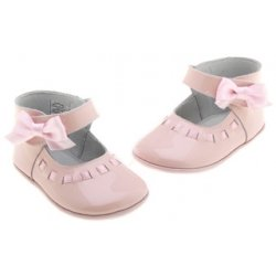 Baby girls pink patent shoes with bow