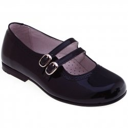 Girls Navy Patent Shoes Double Straps Mary Jane Navy Shoes