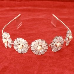 Flowers and pearls communion Alice Band