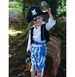 Boys Pirate Outfit In Blue White With Hat And Sword