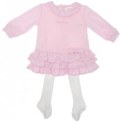 8e4b05adde4 Sale Tutto Piccolo Baby Girls Pink Ruffle Dress White tights included Tights  Set