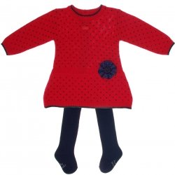 SALES Tutto Piccolo Baby And Toddle Girls Red Polka Dots Dress Navy Tights Outfit