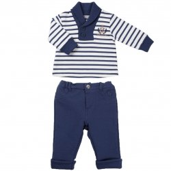Sale Tutto Piccolo Boys Navy Striped Outfit