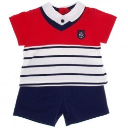 Sale Tutto Piccolo Boys Red White Navy Polo And Navy Shorts Set