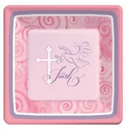 Pack of 8 Pink Communion Or Christening Party Plates