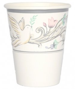8 Communion Or Christening Party Cups White Dove